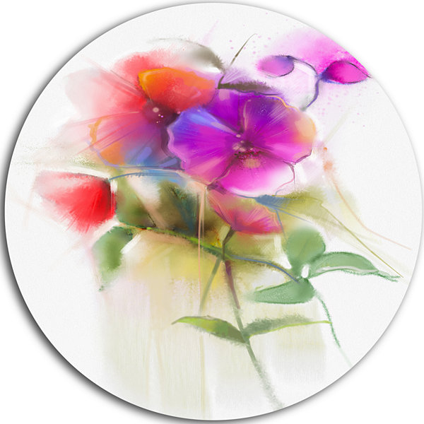 Design Art Bunch of Colorful Orchid Flowers LargeFlower Metal Circle Wall Art