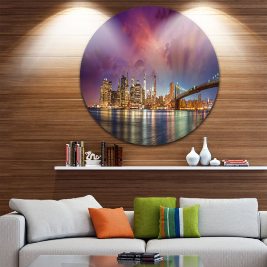 Design Art New York Manhattan Skyline with CloudsUltra Glossy Cityscape Circle Wall Art