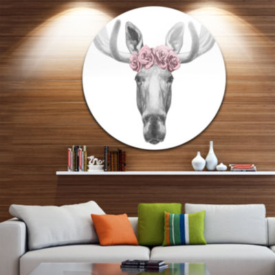 Design Art Moose with Floral Head Wreath Ultra Glossy Moose Metal Circle Wall Art
