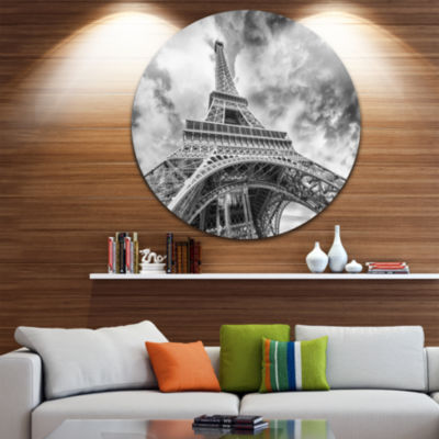 Design Art Black and White View of Paris Paris Eiffel Tower Ultra Glossy Cityscape Circle Wall Art