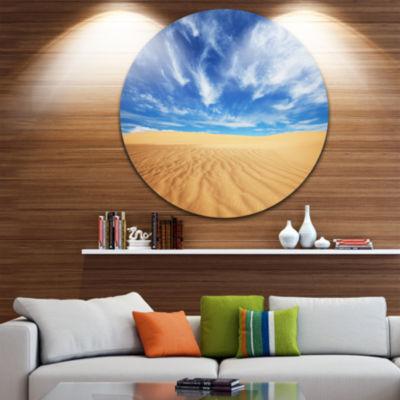 Design Art Desert with Exotic Blue Sky Over Landscape Metal Circle Wall Art