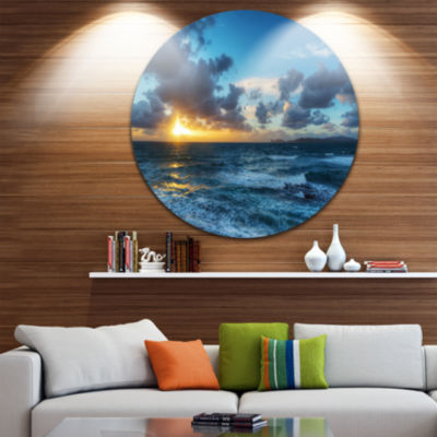Design Art Sunset at Alghero under Dramatic Sky Ultra Glossy Seashore Metal Circle Wall Art