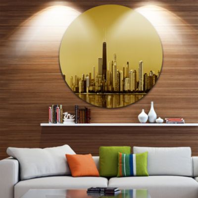 Design Art Chicago Gold Coast with Skyscrapers Ultra Glossy Cityscape Circle Wall Art