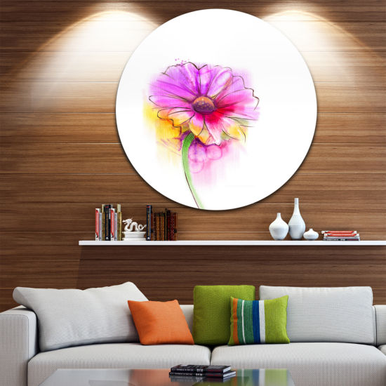 Design Art Purple Yellow Gerbera Flower Large Flower Metal Circle Wall Art