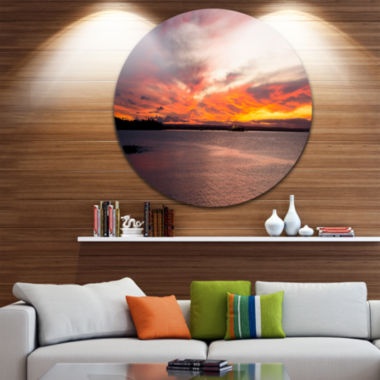 Design Art Yellow Sky Over Calm Sydney Coast UltraGlossy Seashore Metal Circle Wall Art