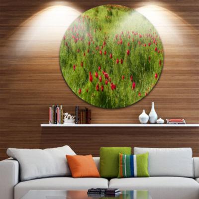 Design Art Wild Peonies Flower in Steppe LandscapeMetal Circle Wall Art