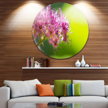 Design Art Pink Little Flowers in Green Ultra Glossy Floral Metal Circle Wall Art