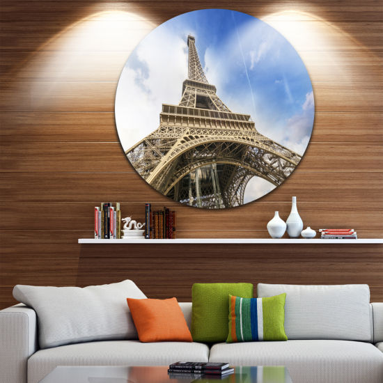 Design Art Fantastic View of Paris Paris Eiffel Towerfrom Ground Ultra Glossy Cityscape Circle WallArt