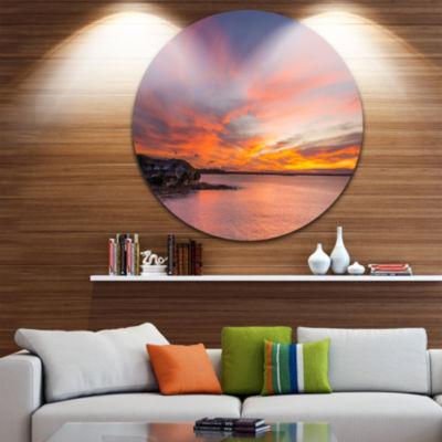 Design Art Calm Sydney Beach with Yellow Sky UltraGlossy Seashore Metal Circle Wall Art