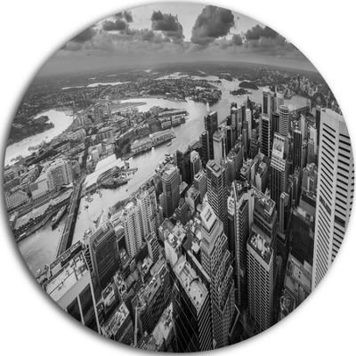 Design Art Sydney City Skyscrapers Panorama Cityscape Metal Circle Wall Art