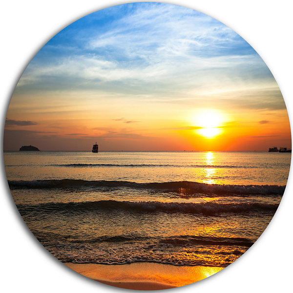 Design Art Fascinating Sunset Over Clam Beach Beach Metal Circle Wall Art