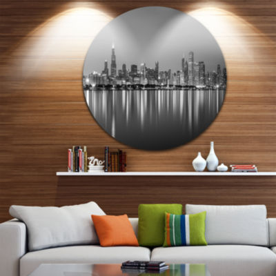Design Art Chicago Skyline at Night Black and White Ultra Glossy Cityscape Circle Wall Art