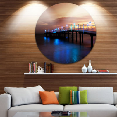 Design Art Blue Waters and Bridge at Sunset Sea Bridge Metal Circle Wall Art