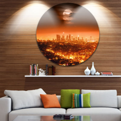 Design Art Dramatic Full Moon over Los Angeles Photographic Print on Metal