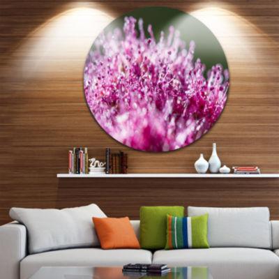 Design Art Pink Little Flowers Close up View UltraGlossy Floral Circle Wall Art