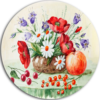 Design Art Colorful Bunch of Flowers and Fruits Ultra Glossy Floral Metal Circle Wall Art
