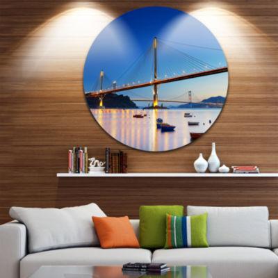 Design Art Hong Kong High Bridge at Night Sea Bridge Metal Circle Wall Art