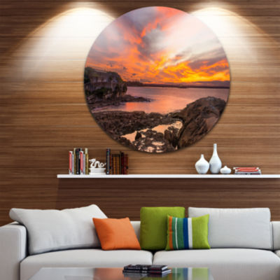 Design Art Sunset Sky Panoramic Sydney View UltraGlossy Seashore Metal Circle Wall Art