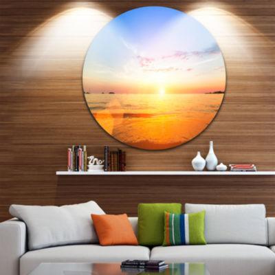 Design Art Beautiful Sunset over Yellow Waters Beach Metal Circle Wall Art