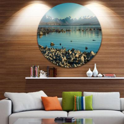 Design Art Blue Waters in Rocky Beach Panorama Landscape Metal Circle Wall Art