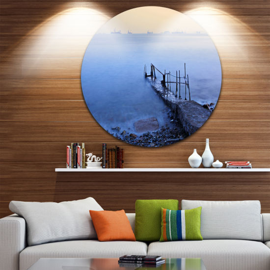 Design Art Abandoned Pier into Blue Sea Sea BridgeMetal Circle Wall Art