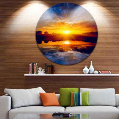 Design Art Bright Yellow Sunset Over Lake Ultra Glossy Seashore Metal Circle Wall Art