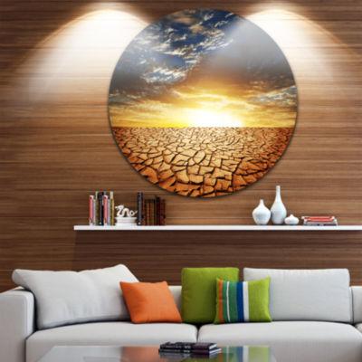 Design Art Drought Land under Bright Sunset Landscape Metal Circle Wall Art