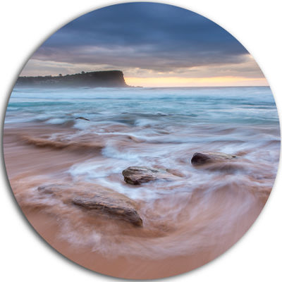 Design Art Bright Sydney Sea with Long Waves LargeSeashore Metal Circle Wall Art