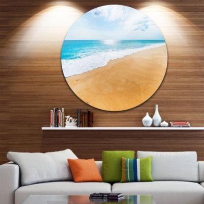 Design Art Serene Beach and Sun Daylight Beach Metal Circle Wall Art