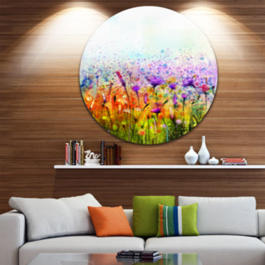 Design Art Abstract Cosmos of Colorful Flowers Large Flower Metal Circle Wall Art