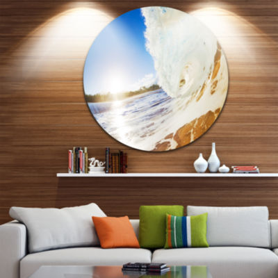 Design Art Crashing Sandy Ocean Waves Beach MetalCircle Wall Art