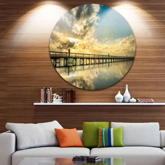 Design Art Long Jetty Foreshore Reserve with Clouds Sea Bridge Metal Circle Wall Art