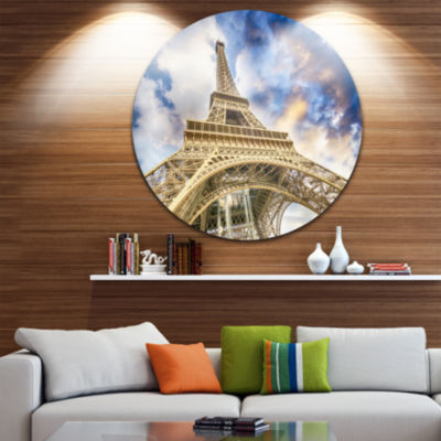 Design Art Dramatic Sky over Ground View of ParisParis Eiffel Tower Ultra Glossy Cityscape Circle Wall Art
