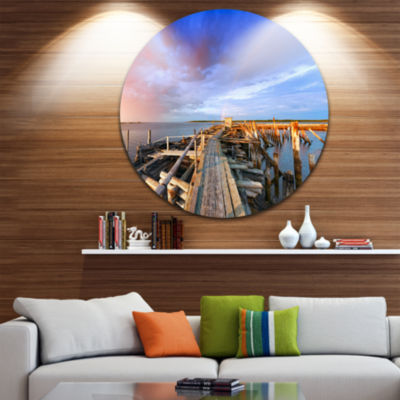 Design Art Abandoned Wooden Pier and Blue Sky SeaBridge Metal Circle Wall Art
