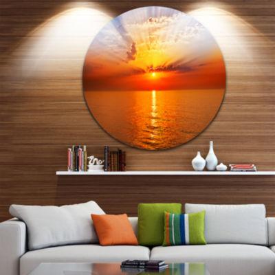 Design Art Orange Sea Sunrise under Blue Sky UltraGlossy Seashore Metal Circle Wall Art