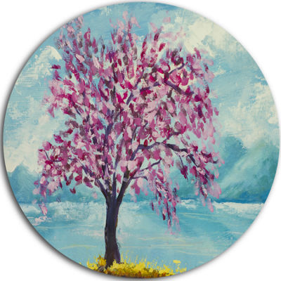 Design Art Blooming Sakura Flowers Ultra Glossy Floral Metal Circle Wall Art