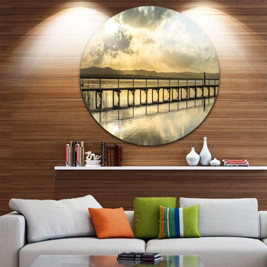 Design Art Long Jetty Foreshore Reserve Panorama Sea Bridge Metal Circle Wall Art