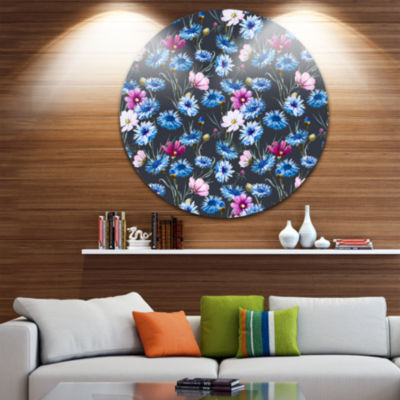 Design Art Multi Color Corn Flowers Ultra Glossy Floral Metal Circle Wall Art