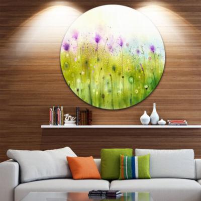 Design Art Green Purple Abstract Cosmos of FlowersLarge Flower Metal Circle Wall Art