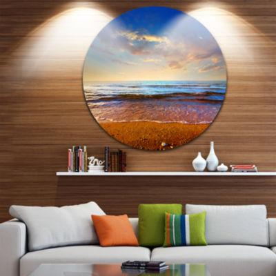 Design Art Cloudy Skies with Vibrant Seashore Beach Metal Circle Wall Art