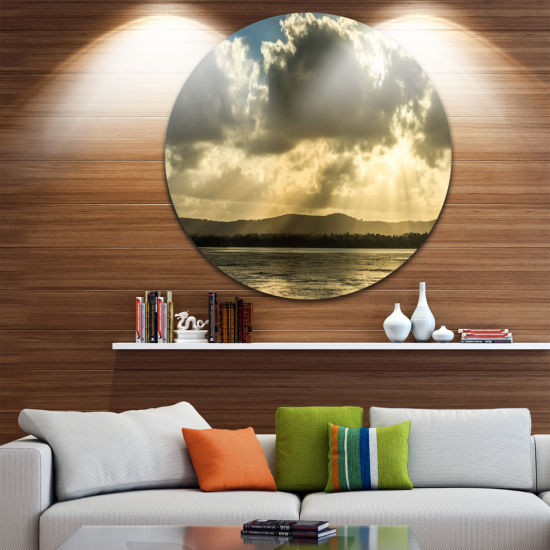 Design Art Heavy Clouds over Foreshore Reserve Large Seashore Metal Circle Wall Art