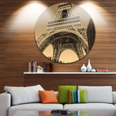 Design Art Iconic Paris Paris Eiffel TowerView from Ground Ultra Glossy Cityscape Circle Wall Art