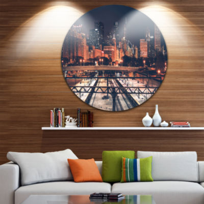 Design Art Dark Chicago Skyline and Railroad UltraGlossy Cityscape Circle Wall Art