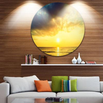 Design Art Yellowish Sky over Serene Seashore Seascape Metal Circle Wall Art