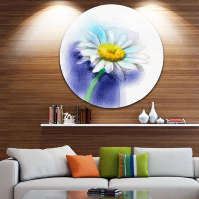 Design Art White Gerbera Daisy in Blue Large Flower Metal Circle Wall Art