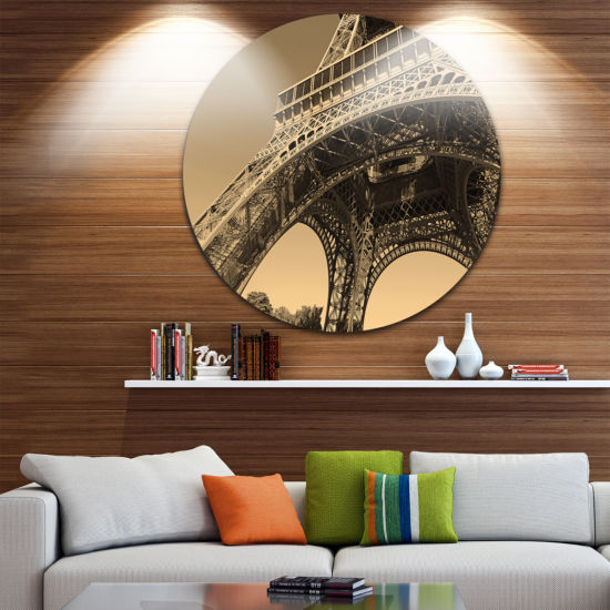 Design Art Iconic Paris Paris Eiffel TowerSide View from Ground Ultra Glossy Cityscape Circle Wall Art