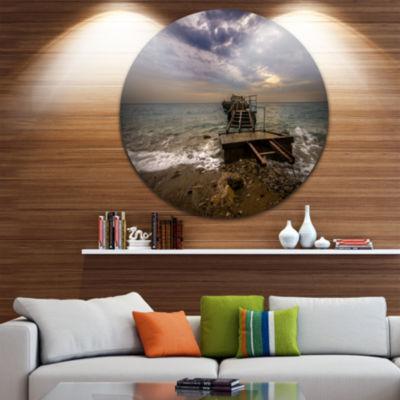 Design Art Broken Wooden Pier for Boats Sea BridgeMetal Circle Wall Art