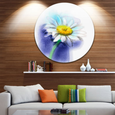 Design Art White Gerbera Daisy in Blue Large Flower Metal Circle Wall Art