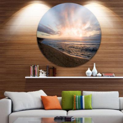 Design Art Sunrise over Indian Ocean Waters Seascape Metal Circle Wall Art