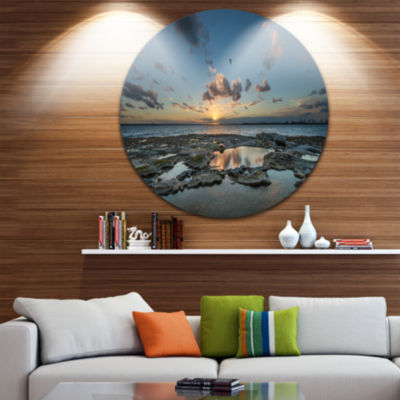 Design Art Sunset at La Perouse Sydney Landscape Metal Circle Wall Art